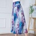 Высокой талией брюки Широкие брюки рог широкую ногу печатных шифон брюки танец Уздечка женские брюки Belly Dance Повседневная Boho