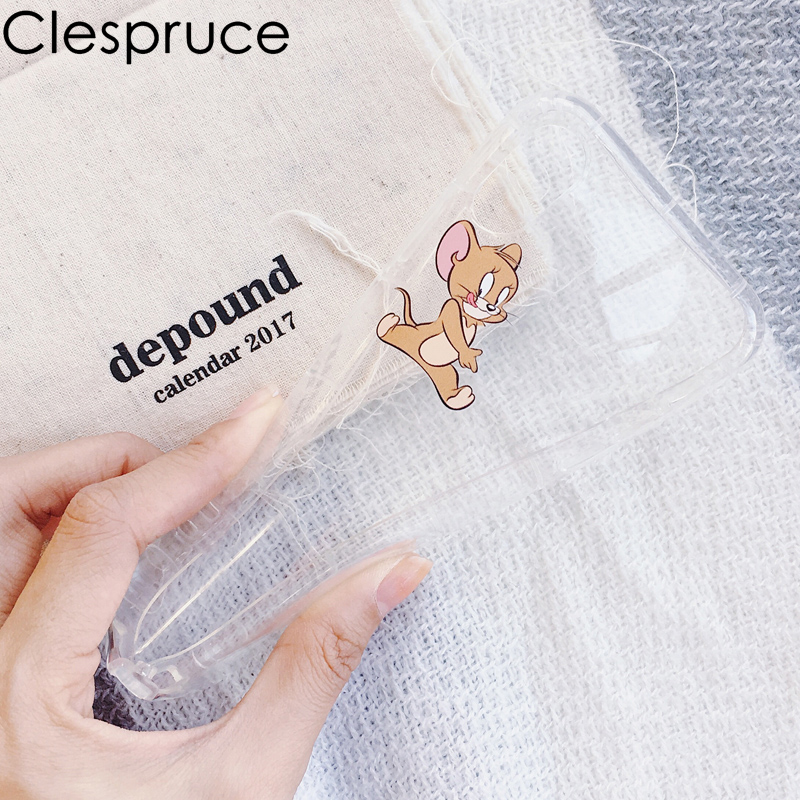 Antiknock air bag Tom and Jerry dogs Cartoon TPU soft gel silicone Clear Case for iphone X 5 5s 6 6s 7 8 plus Cases Cat Cover