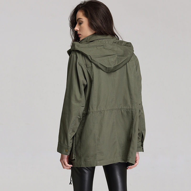 ESCALIER Women Anorak Solid Color Long Sleeved Pockets Zipper Hooded Collar Coat in Trench from Women 39 s Clothing