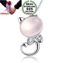 OMHXZJ jewelry round woman 5 carat kpop fashion kitty Rose Quartz 925 sterling silver NO Chain Necklace pendant Charms PE13