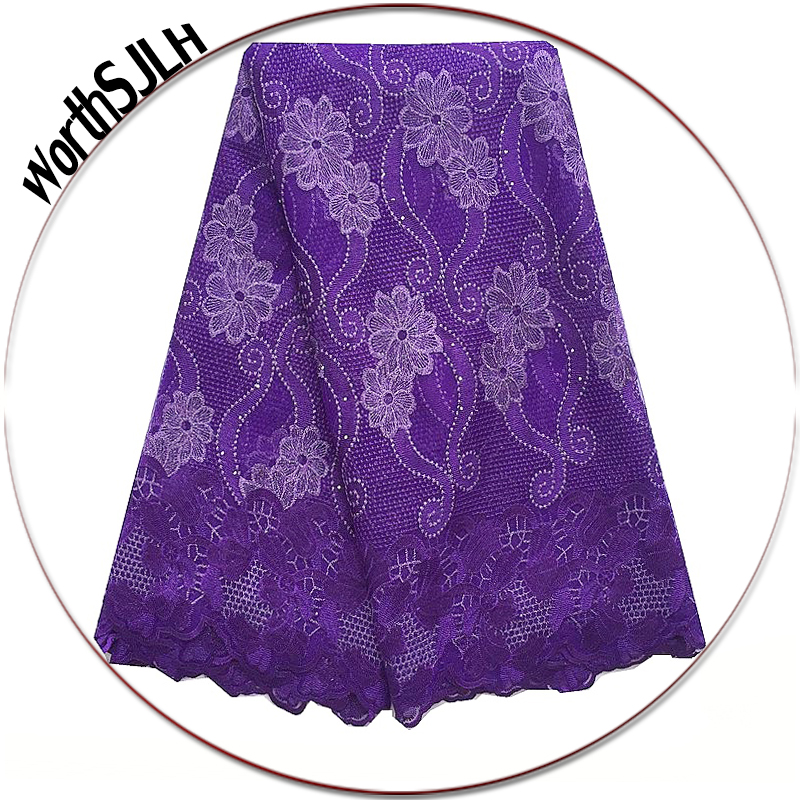 Latest Dresses African Swiss Lace Fabric 2018 High Quality Cord Lace Fabric Royal Blue Purple Lace