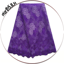 Latest Dresses African Swiss Lace Fabric 2018 High Quality Cord Royal Blue Purple For Women Nigeriane