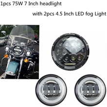 7 Inch Motorcycle LED Headlight With DRL + 2pcs 4-1/2″ Fog Lights for Harley Davidson