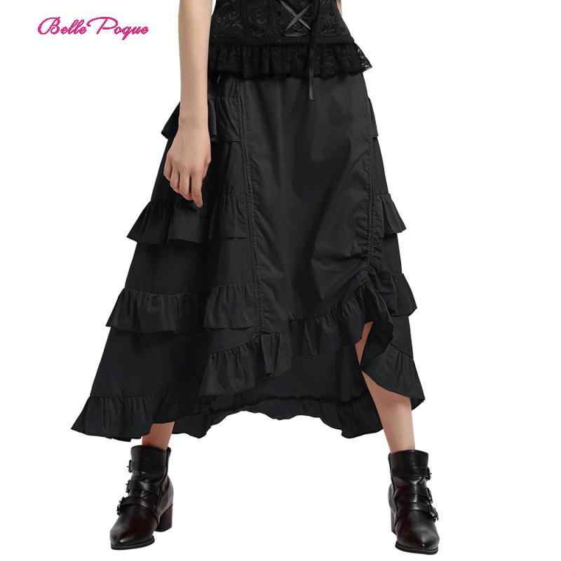Retro Women's Victorian Gothic Steampunk Skirts Layers Sexy Party Black Ruffles Vintage High Waist High-Low Skirt 2019 new Style