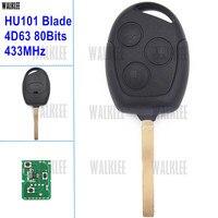 WALKLEE 3BT 433 MHz Chiave a Distanza Compatibile per Ford Galaxy Fuoco Mondeo C-Max KA Fiesta 4D63 80 Bit w/HU101 Key Lama