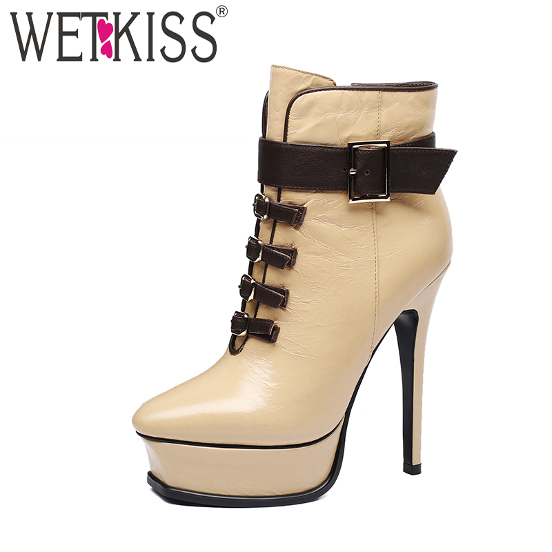 WETKISS Genuine Leather High Heeled Women Boots Square Toe Footwear Zip Female Ankle Boot Autumn Platform Shoes Women 2018 New стоимость