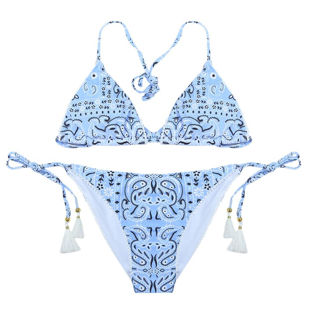 Sexy Halter Neck Backless Padded Print Fringed Women Bikini Set Bathing Suit Brazilian Biquni Beach Swimwear