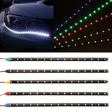 30cm Car Flexible LED Strip Light High Power 12V 11.8″ 15SMD Waterproof LED Daytime Running Light Decorative Car DRL