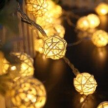 Светодиодная гирлянда, красочный светильник, 2 м, сказочный ротанговый шар, Рождественская гирлянда для праздника, вечеринки, 20 светодиодов, свадебный фестиваль, теплый светильник, домашний декор