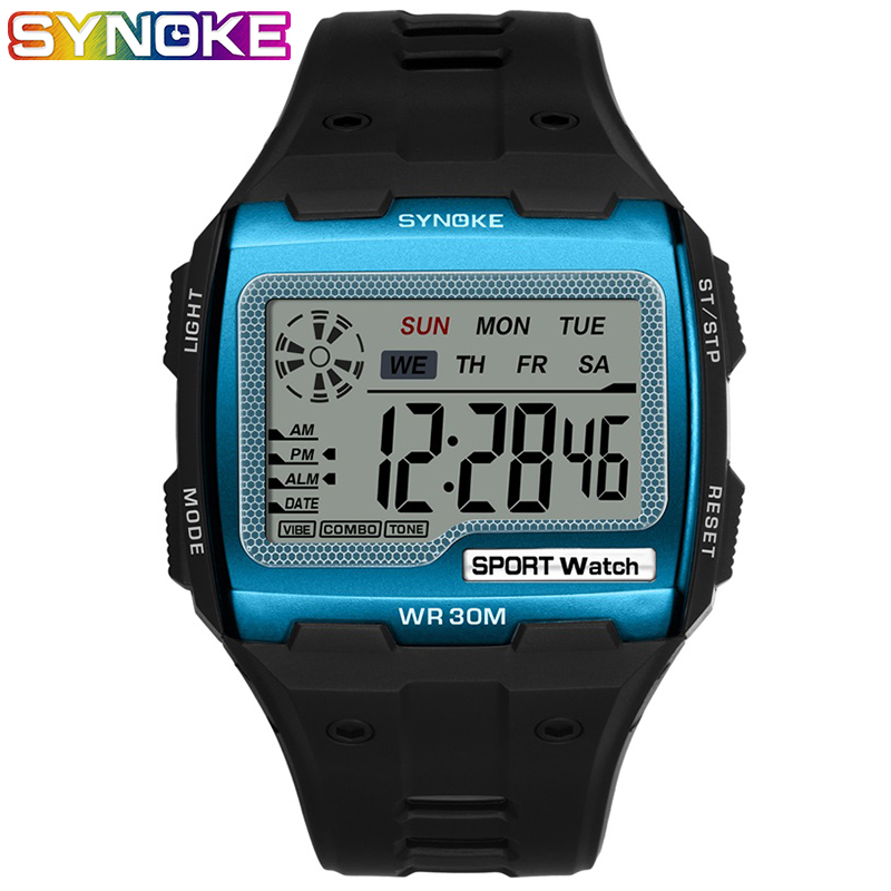 SYNOKE Mens Digital Watches Big Square Dial Alarm Week Shock Resistant  Repeater Chronograph Multifunction Digital Sport Watch