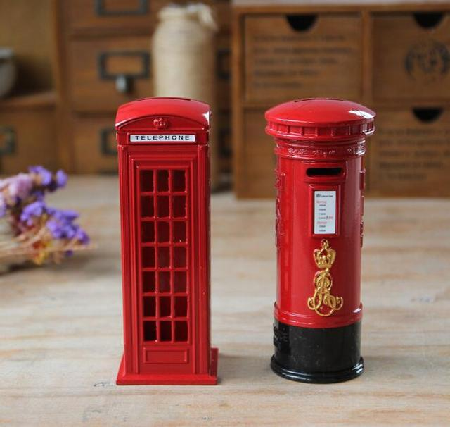 18x6cm Creative Home Decoration London Telephone Booth Money Box Mailbox Ornament Piggy Bank Metal Crafts Resin