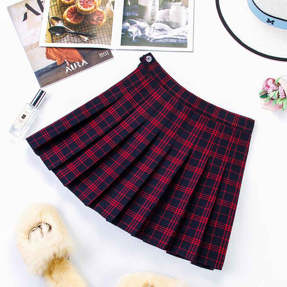 Plus Size Harajuku Short Skirt New Korean Plaid Skirt Women Zipper High Waist School Girl Pleated Plaid Skirt Sexy Mini Skirt 14