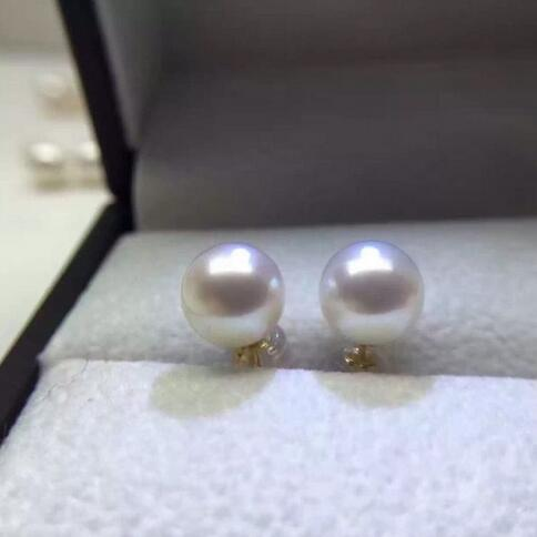 Charming pair AAA round 9-10mm South Sea white pearl earring14k>>>silver earrings for women Free shipping цена