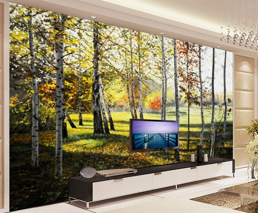 online get cheap forest wall mural aliexpress com alibaba group custom 3d wallpaper birch forest tree forest painting background wall mural 3d wallpaper 3d customized wallpaper