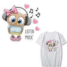 Cartoon Music Owl Patch Iron on Transfer Heart Patches for Kids Girl Clothing DIY T-shirt Heat Transfer Vinyl Stickers Applique iron on heart mouse patches for kids girl clothing diy t shirt dresses applique heat transfer vinyl thermo letter patch stickers