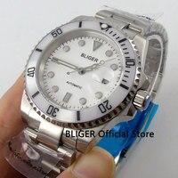 Sapphire Glass 40mm BLIGER White Dial Ceramic Bezel Luminous Marks Date Magnifier Miyota Automatic Movement Men's Watch B67
