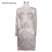 Sexy See Through Silver and Gold Straight Long Sleeves Rhinestone Cocktail Dresses 2017 Short Prom Gowns vestido de coctel YC56
