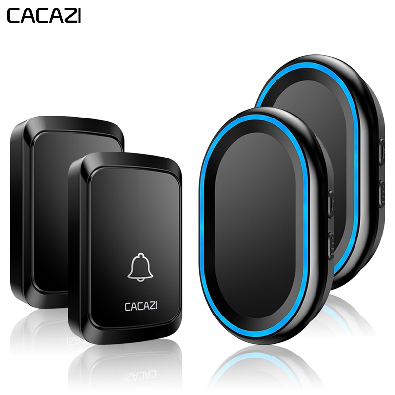 CACAZI Home Wireless Intelligent Doorbell 300M Remote Waterproof 2 Button 2 Receiver LED night light cordless bell US EU UK PlugCACAZI Home Wireless Intelligent Doorbell 300M Remote Waterproof 2 Button 2 Receiver LED night light cordless bell US EU UK Plug
