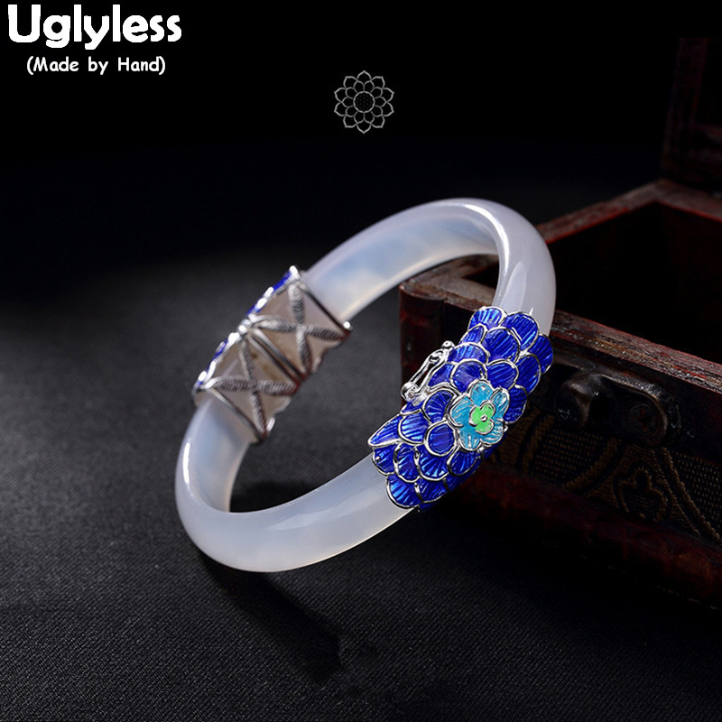 Uglyless Real S 925 Sterling Silver Natural White Chalcedony Bangles Women Luxury Statement Wide Bangle Enamel