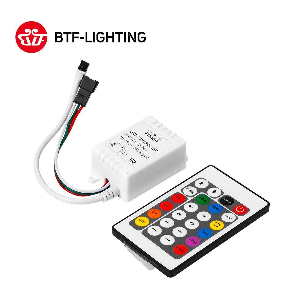 Işıklar ve Aydınlatma'ten RGB Kumandaları'de 24 anahtar DC5V/12 V IR Uzaktan Kumanda WS2812B WS2811 2811 200 Değişim Max 1000 Piksel LED Denetleyici
