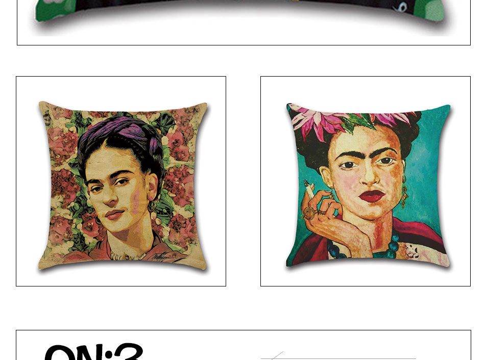 Self-portrait Pillowcase Frida Kahlo Colorful Flower Linen Pillows Square Painting Cushion Cover Sofa Bedroom Home Decorative (6)