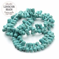 LINSOIR 6 11 10 15mm Irregular Awl Bule Turquoises Beads Loose Natural Stones Spacer Beads For