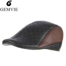 94f801c4e8957 Casual Men Winter Hat Patchwork Faux Leather PU Beret Hats Hip Hop Peaked  Caps Warm Bone