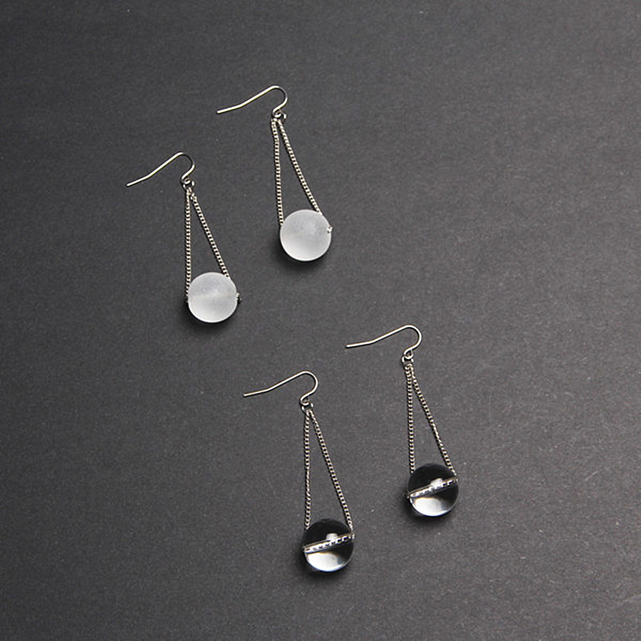original European and American wind extremely simple sugar ball grinding transparent glass bead earrings Ms