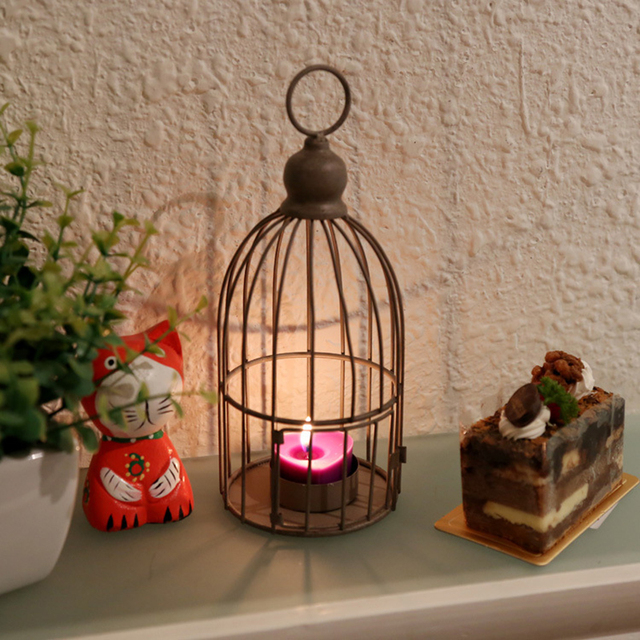 Iron Vintage Bird Cage Candle Holder Metal Cage Candle Lantern Retro  Candlestick Wall Hanging Candle Holder