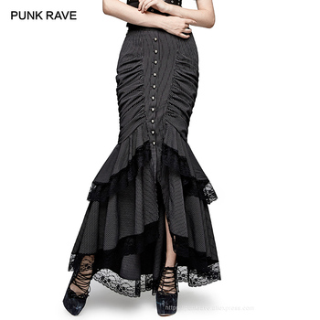 PUNK RAVE Steampunk Graceful Full-Skirted Stripes Woven Fishtail Skirt Button Folds Lace Long Fishtail Skirt Sexy Mature Evening фото