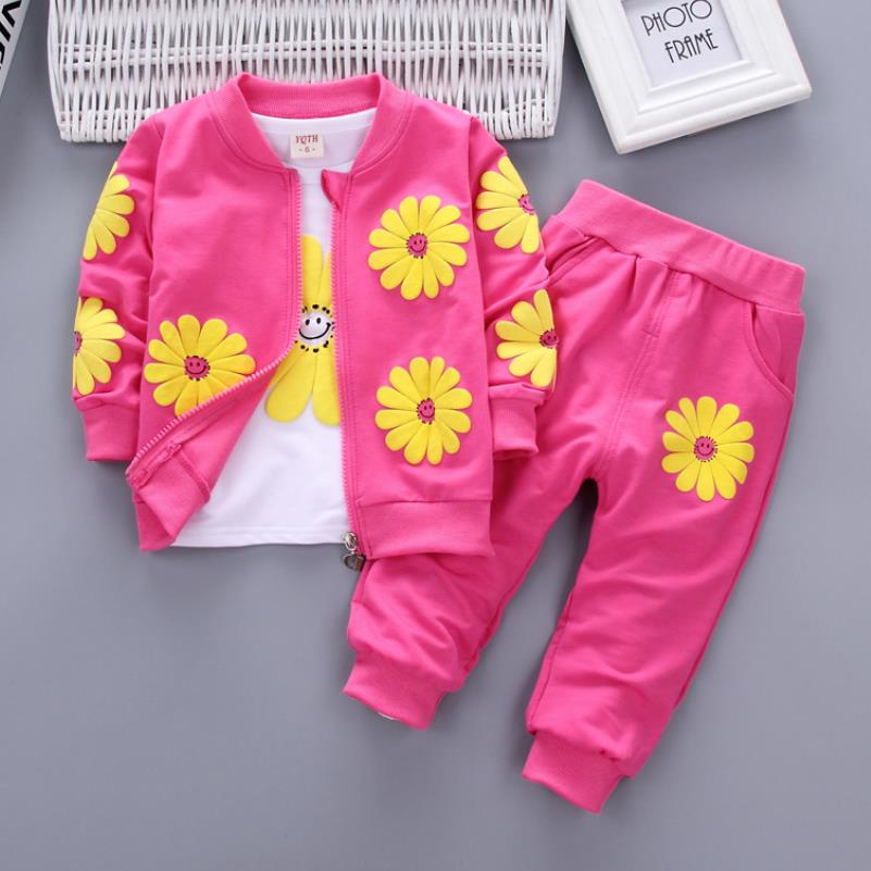 2021 Real Roupas Infantis Children's Garment Spring And Autumn New Girl Pure Cotton Printing Three-piece Child Suit 0-4y 3