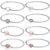 KAKANY 925 sterling silver sleek minimalist heart shaped basic bracelet Fit Pandora Bracelet original DIY jewelry