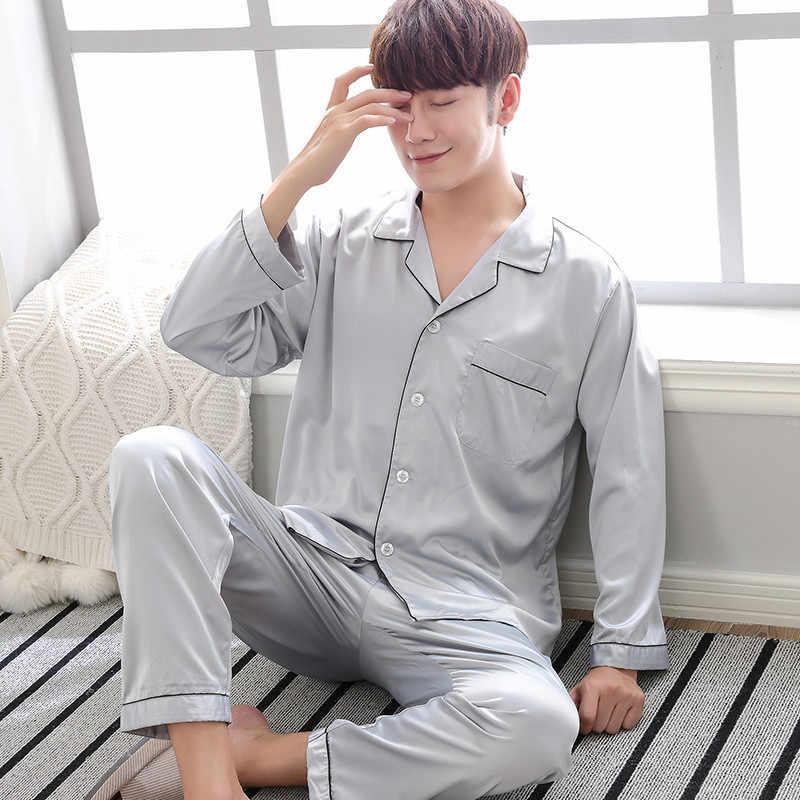 5cdcb5725036 ... 2018 Long Sleeve Silk Men Pajama Sets Solid Autumn Two-Piece Sleepwear  Men Summer Suit ...