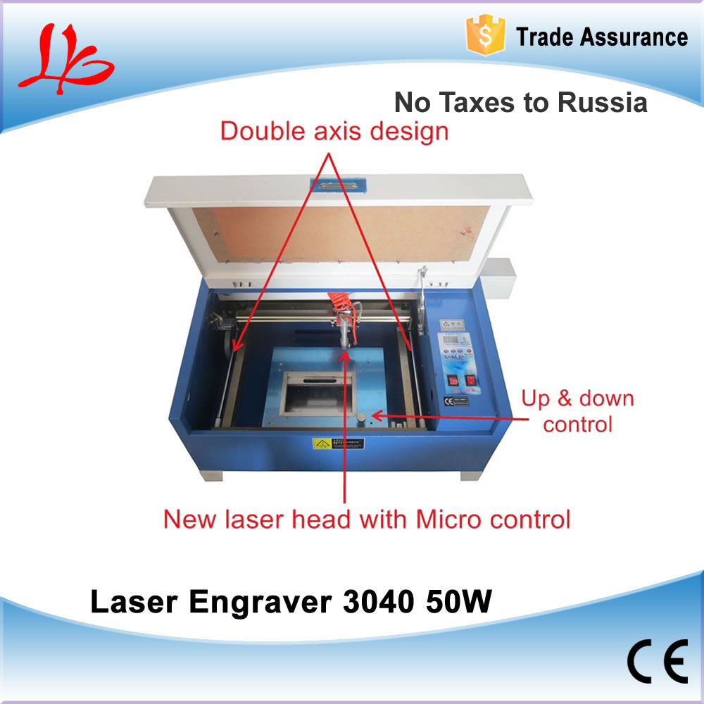 Russia Ukraine NO TAX! 50W Mini Laser Engraver 3040 Desktop CO2 Laser Cutting Machine + Rotary Axis 4040 50w co2 laser engraver with 50w laser tube honeycomb equips to russia free tax