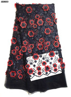 KK Flower Appliques 3d Tulle Lace Fabric Girls Party Dress Floral Lace Fabric Black African French