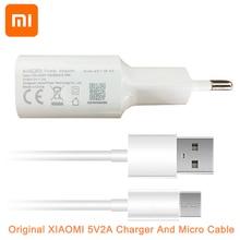 Oryginalny Xiao mi 5V2A mi A2 Lite ściany ładowarka z wtyczką eu i mi cro Usb kabel ładowania dla czerwony mi 3 3S 4 4C 4X 4Pro 5 uwaga 3 4 5A 5 Pro