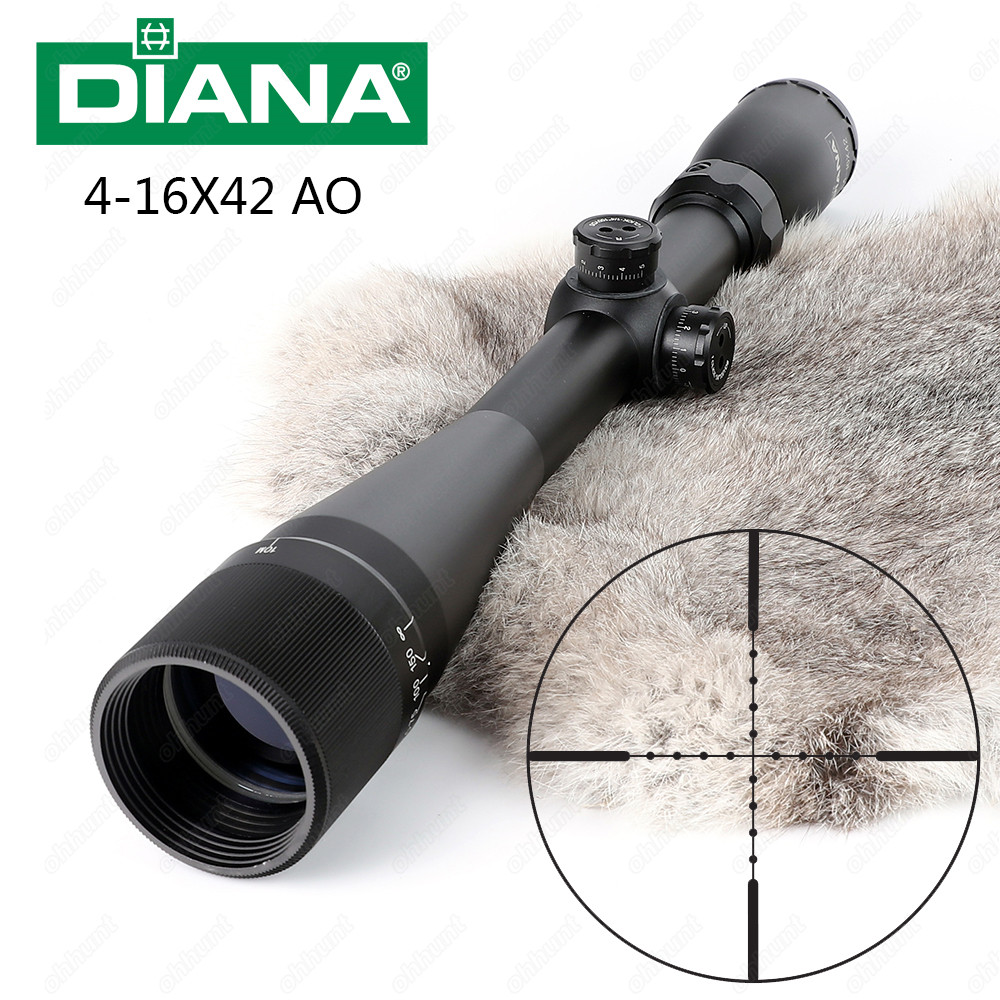 DIANA 4-16X42 AO Tactical Riflescope Mil Dot Reticle Optical Sight Most Popular Hunting Rifle Scope Free Shipping tactial qd release rifle scope 3 9x32 1maol mil dot hunting riflescope with sun shade tactical optical sight tube equipment