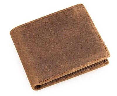 Новинка crazy horse кожаный бумажник кошелек мужской из натуральной кожи короткий дизайн кошельки ретро два сложения мульти-карты бумажник 8029 - Цвет: light brown