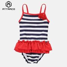 Attraco Baby Girls One Piece Swimsuits Stripe Printed Swimwear Kids lacework Bikini Cute Beach Wear Childrens One-Piece Suits