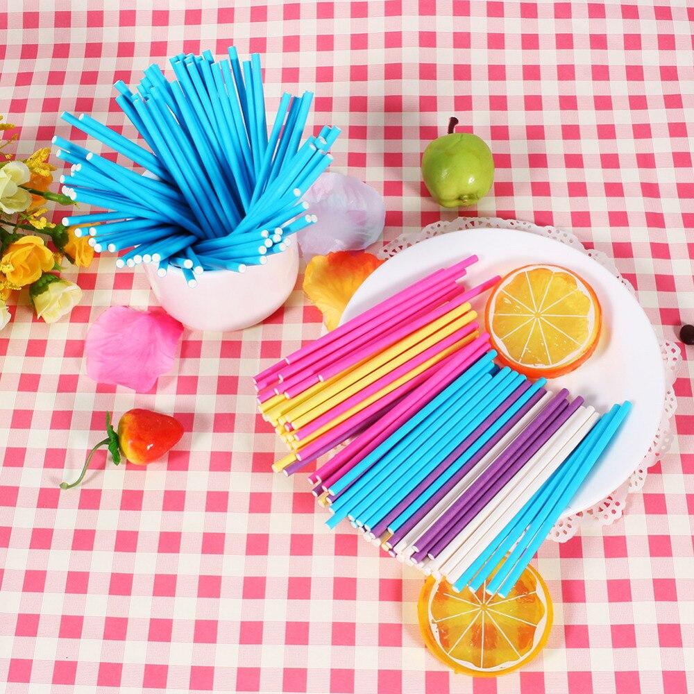 100 Pcs Pop Sucker Sticks Lollipop Makanan Mold Sticks Chocolate Cake Permen Gula Pasta Alat Chocholate di Alat Alat Memanggang & Pastry dari Rumah & Taman