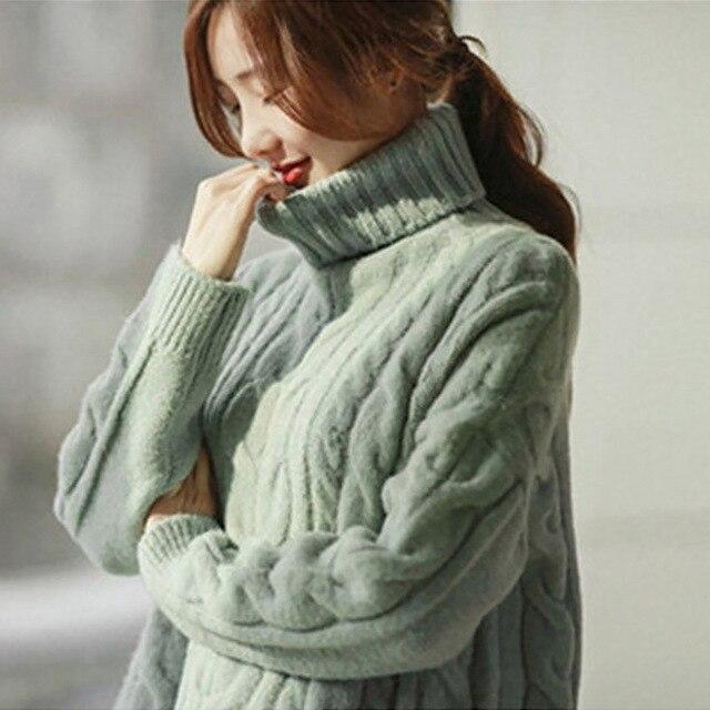 2016 осень зима высокий воротник свитера женщины свободные большой размер водолазка плюс толстый свитер женский потяните femme