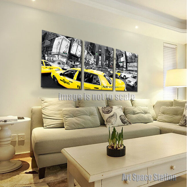 3pcs large black and white new york city print yellow cab postertraffic taxi photorush hour times square modern wall art decor in painting calligraphy