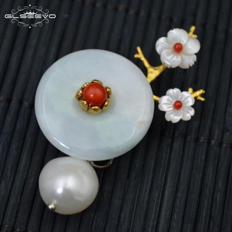 все цены на GLSEEVO Natural Fresh Water Pearl Jade Shell Flower Brooch Pins And Brooches For Women Dual Use Luxury Fine Jewelry GO0108 онлайн
