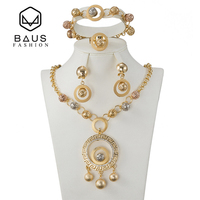 BAUS NEW Fashion Gold Color Nigerian Wedding African Beads Jewelry Set Saudi Jewelry Sets Bracelet Earring