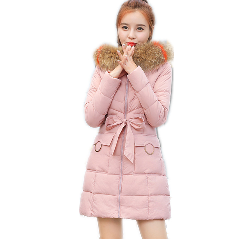 Hot Sale2019New Fashion Winter Women   Parkas   Female Hooded Large Fur Collar Winter Coats With Sashes Down Cotton Jacket TopCQ2454
