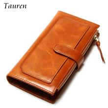 ФОТО 2015 new vintage long style oil wax leather womens's two-fold wallets female genuine wallet 12 card places women clutch