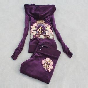 Image 2 - אביב/סתיו 2018 נשים מותג קטיפה בד אימוניות Velour חליפת WomenTrack חליפת נים ומכנסיים גודל S XXXL