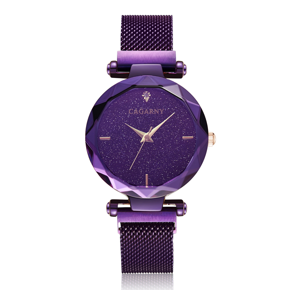 Cagarny Hot Fashion Quartz Watch for Women Ladies Dress Watches Purple Stainless Steel mesh Band Starry Sky Magnet Female ClockCagarny Hot Fashion Quartz Watch for Women Ladies Dress Watches Purple Stainless Steel mesh Band Starry Sky Magnet Female Clock