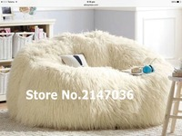 SHAGGY IVORY SOLID BACK LEANBACK LOUNGER VIDEO GAMING MOVIE CHAIR READING Bean Bag Lounger Cover
