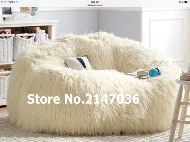 Exceptionnel SHAGGY IVORY SOLID BACK LEANBACK LOUNGER VIDEO GAMING MOVIE CHAIR READING  Bean Bag Lounger Cover